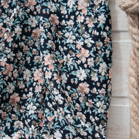 Coupon microfibre woolpeach polyester fond bleu marine 1m20 + 70cm en 150cm n°10752