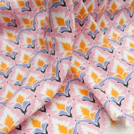 Coupon crêpe viscose imprimé rose mauve orange 1m50 + 75cm en 155cm