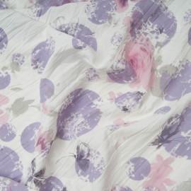 Au mètre Polycoton froissé permanent fond blanc, cercle mauve et rose en 140cm n°10756