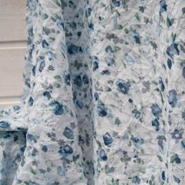Au mètre Polycoton froissé permanent fond blanc, fleurette bleue en 140cm n°10757