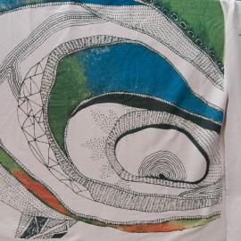 Coupon Jersey Coton taupe imprimé vert 80cm x 115cm n°10766