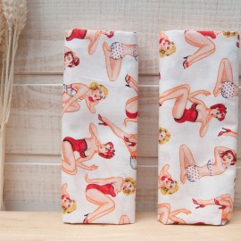 "Mini coupon toile coton OEKOTEX ""Coquine"" BLANC 50x 75cm"