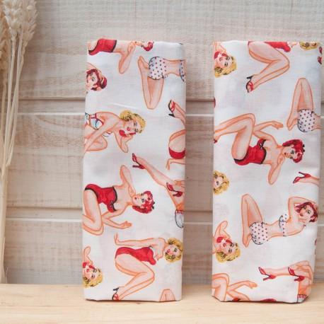"Mini coupon toile coton ""Coquine""BLANC 50x 75cm"