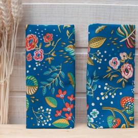 "Mini coupon toile coton OEKOTEX ""ANCOLIE"" Bleu canard 50x 75cm"