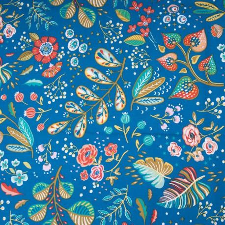 Tissu Coton cretonne imprimé végétal fond bleu canard OEKOTEX en 150cm