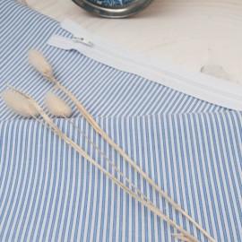 Au mètre popeline de coton fine rayure bleu ciel (2mm) en 140cm n°10773