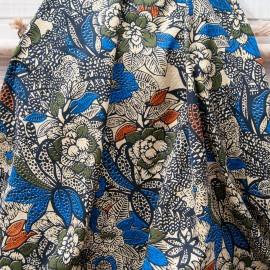 Au mètre coton imprimé fleur africaine type wax en 150cm n°10775