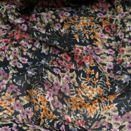 Au mètre voile crêpe polyester fond noir imprimé fleurette ocre et mauve en 150cm n°10777