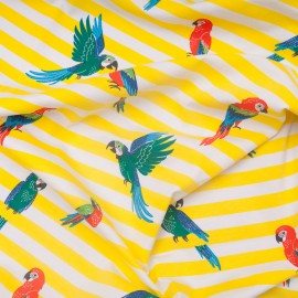 Au mètre jersey coton perroquet pailleté jaune Certifié Oeko-tex en 145cm n°10780