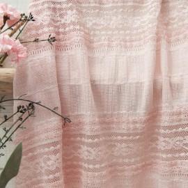 Au mètre tissu effet entre 2 dentelles rose n°10787