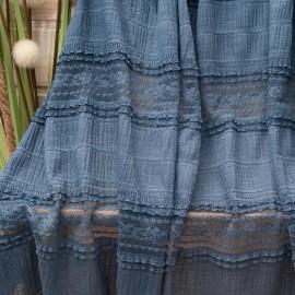 Au mètre tissu effet entre 2 dentelles bleu Indigo n°10788