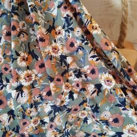 Coupon maille polyester et lycra kaki pâle imprimé fleur vieux rose 1m85 en 150cm n°10790