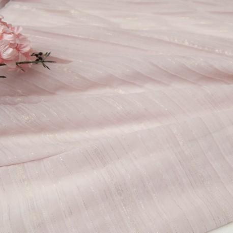 Au mètre plissé fin polyester rose lurex doré en 150cm n°10778