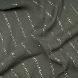 Au mètre crépon polyester kaki rayure lurex dorée et argentée en 140cm n°10792