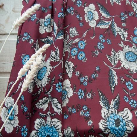 Au mètre crêpe polyester bordeaux motif floral beige n°10794