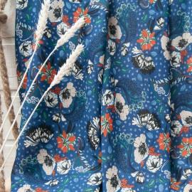 Au mètre crêpe polyester bleu motif floral beige et orange n°10795