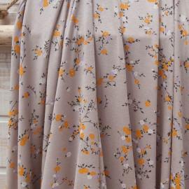 Au mètre fin jersey viscose Agnès b. taupe fleurette moutarde en 140cm n°10799