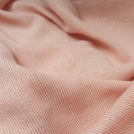 Au mètre très joli tissu OEKOTEX rose abricot rayure cuivre lurex en 155cm n°10801