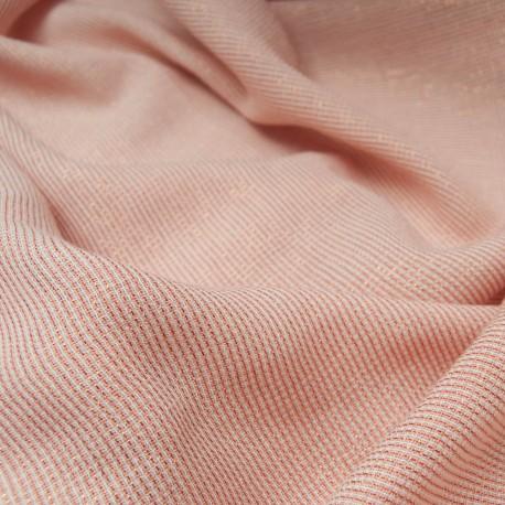 Au mètre très joli tissu rose abricot rayure cuivre lurex en 155cm n°10801