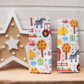 Mini Coupon Coton OEKOTEX ferme animaux pour enfants fond blanc 50cm x 80cm
