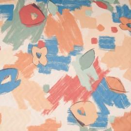 Au mètre toile polyester ameublement imprimée fond vanille en 150cm n°10199