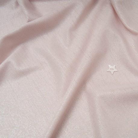 Au mètre, maille laser rose pâle irisé stretch en 155cm n°10809