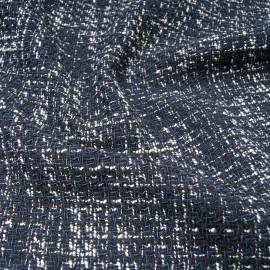 Au mètre Tweed Haut de gamme natté bleu marine en 145cm n°10811