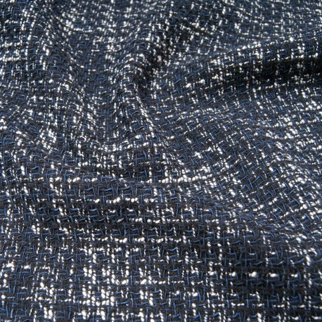 Au mètre Tweed MAJE Haut de gamme natté bleu marine en 145cm n°10811