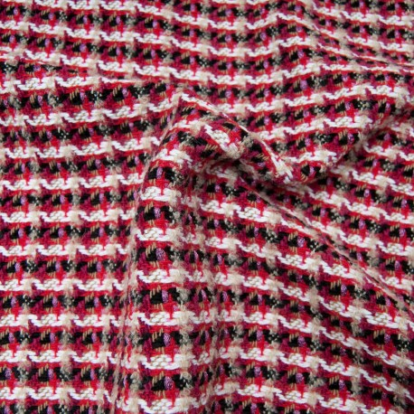 Au mètre Tweed MAJE Haut de gamme natté fushia en 145cm n°10812