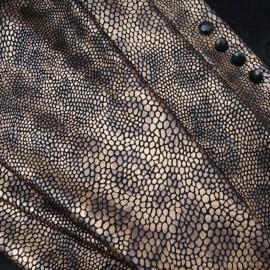 Au mètre maille légère noire imprimé panthère mordorée en 150cm n°10815