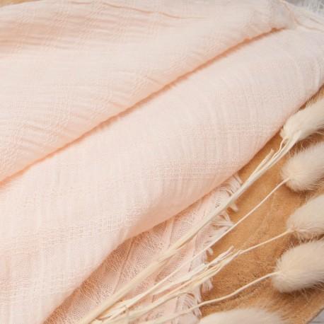 Au mètre coton seersucker rose pastel en 140cm n°10819