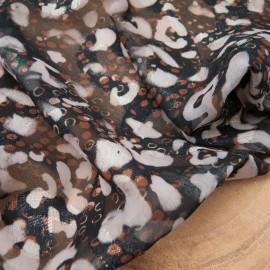 Au mètre voile polyester kaki marron imprimé léopard effet irisé en 145cm n°10820