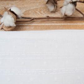 Tissu voile coton plumetis blancs rayé lurex argent en 150cm n°10822