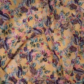 Coupon léger Voile polyester viscose florale fond jaune pâle 2m60 en 150cm n°10831