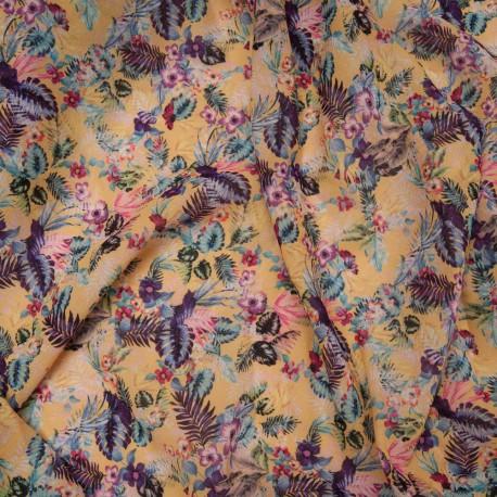 Coupon Voile polyester viscose florale fond jaune pâle 2m60 en 150cm n°10831