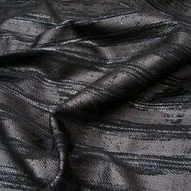 Au mètre maille Jersey noir floquée Toledo effet rayure cuir et argent en 150cm n°10834