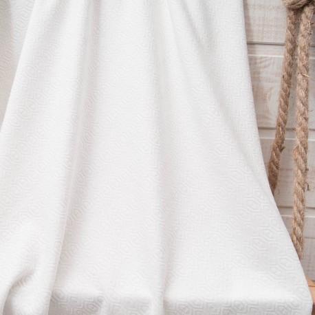 Au mètre, maille écrue texturée losanges viscose et polyester en 155cm n°10826