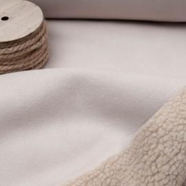 Au mètre peau imitation mouton beige réversible suédine CRAIE en 150cm n°10839