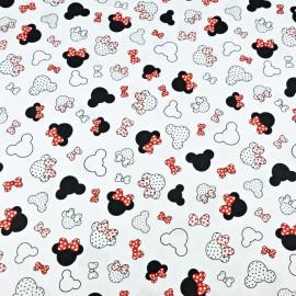Mini coupon toile coton OEKOTEX Minnie rouge fond BLANC 50x 80cm