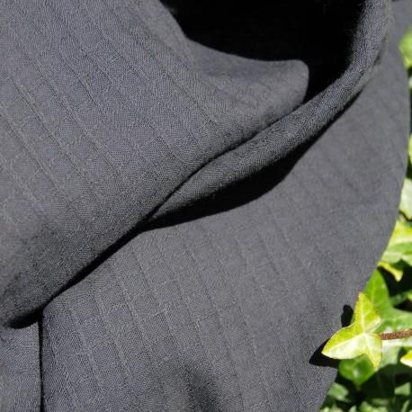 Tissu Voile de coton tissage mini carrés en Noir n° 654