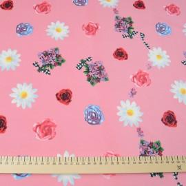 Jersey polyester et Lycra rose à fleurs au mètre en 150cm n° 691