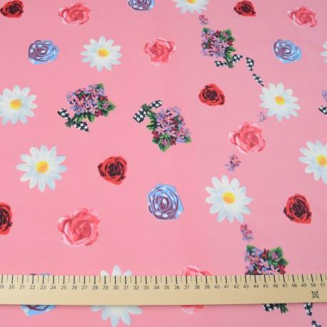 Jersey polyester et Lycra rose à fleurs en 150cm n° 691
