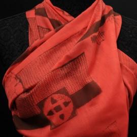 Coupon Voile de coton rouge imprimé ethnique 85cm en 140cm n° 692