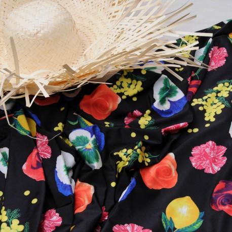 Jersey polyester et Lycra noir à fleurs au mètre en 150cm n° 694