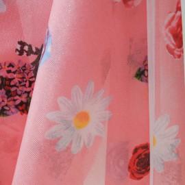 Tissu au mètre Voile Coton et polyamide rose à fleurs n°695