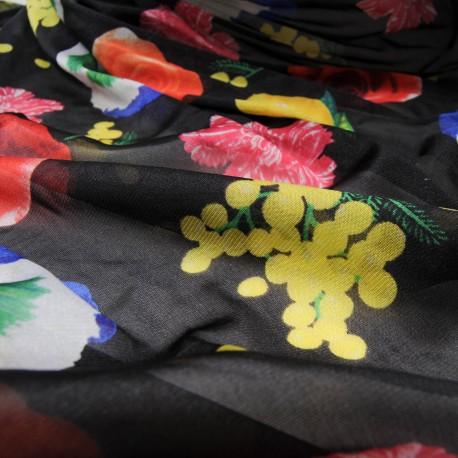 Tissu au mètre Coton et polyamide noir à fleurs n°696
