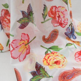 Tissu au mètre Coton et polyamide blanc à fleurs n°697