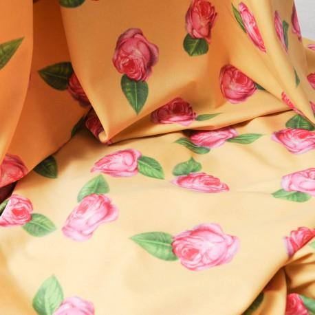 Jersey polyester et Lycra jaune doré au mètre en 145 cm n° 698