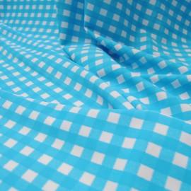 Au mètre Jersey polyester et Lycra turquoise et blanc en 145 cm n° 701