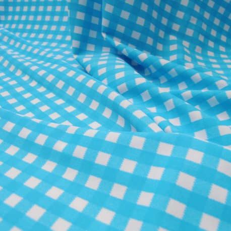 Jersey polyester et Lycra turquoise et blanc au mètre en 145 cm n° 701